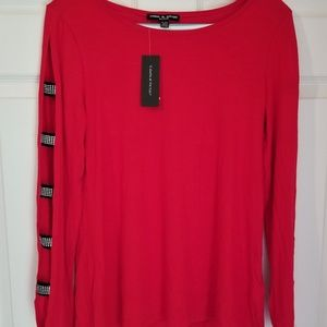Cable & Gauge Blouse NWT Petite Large Red